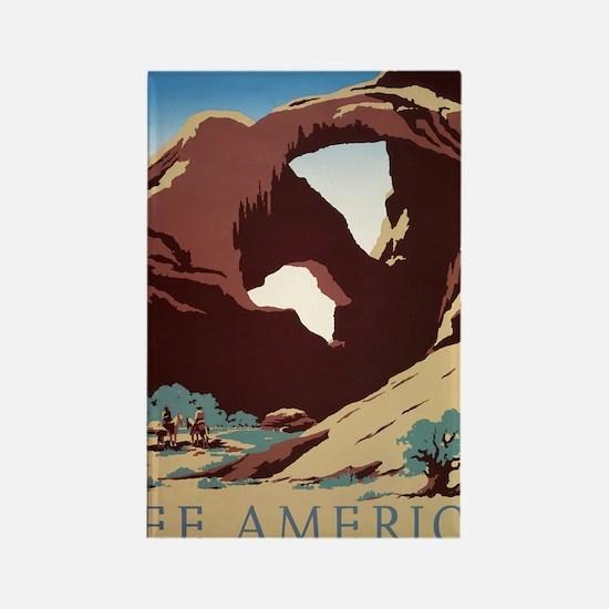 See America Desert Rectangle Magnet