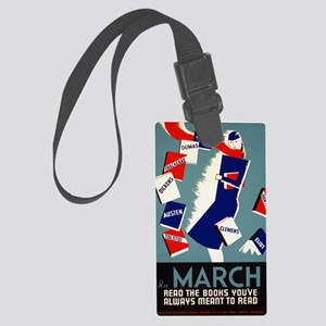 Vintage March is for Reading Large Luggage Tag