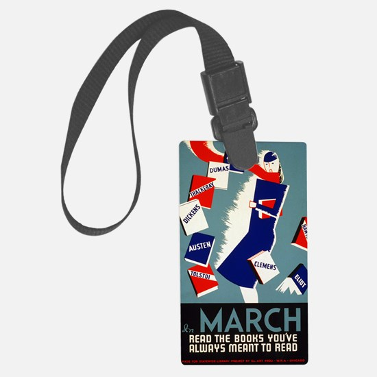 Vintage March is for Reading Luggage Tag