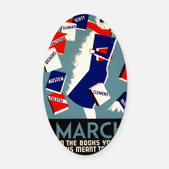 Vintage March is for Reading Oval Car Magnet