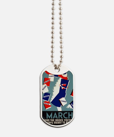 Vintage March is for Reading Dog Tags