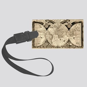Vintage Old World Map  - 1630 Large Luggage Tag