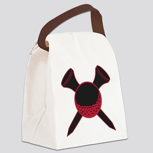 Red and Black Golf Canvas Lunch Bag