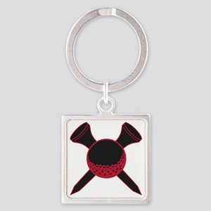 Red and Black Golf Square Keychain