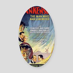 Vintage Frankenstein Horror Movie Oval Car Magnet