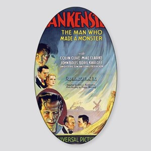 Vintage Frankenstein Horror Movie Sticker (Oval)