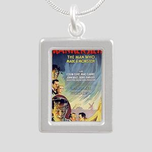 Vintage Frankenstein Hor Silver Portrait Necklace