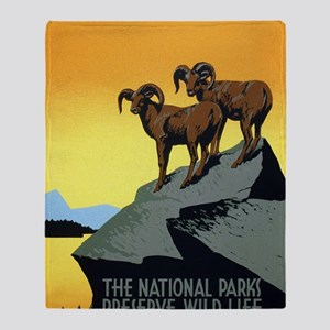 National Parks: Preserve Wild Life Throw Blanket