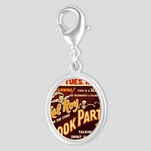 Vintage Halloween Party Silver Oval Charm