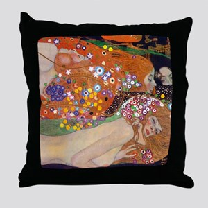 Gustav Klimt Water Serpents Throw Pillow