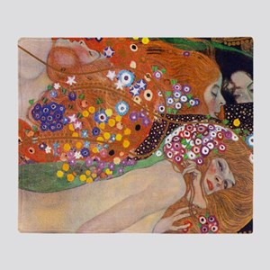 Gustav Klimt Water Serpents Throw Blanket