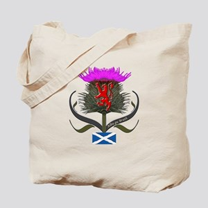 Scotland thistle lion and saltire flag Tote Bag