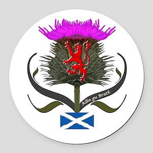 Scotland thistle lion and saltire Round Car Magnet