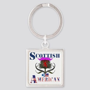 Scottish American Thistle Design Square Keychain
