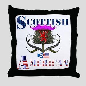 Scottish American Thistle Design Throw Pillow