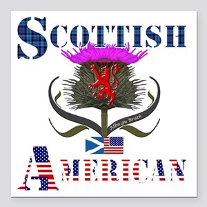 "Scottish American Thistl Square Car Magnet 3"" x 3"""
