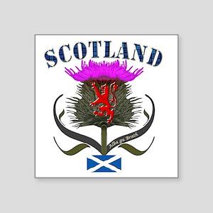 "Tartan Scotland thistle lio Square Sticker 3"" x 3"""