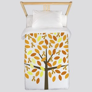 Gold Ribbon Tree Twin Duvet