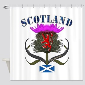 Tartan Scotland thistle lion saltir Shower Curtain
