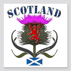 "Tartan Scotland thistle  Square Car Magnet 3"" x 3"""