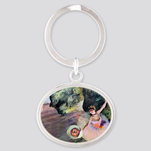 Edgar Degas Dancer With Flowers Oval Keychain