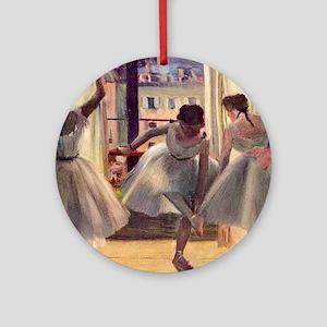 Edgar Degas Three Dancers In A Prac Round Ornament