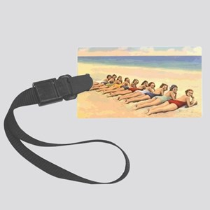 Vintage Bathing Beauty Postcard  Large Luggage Tag