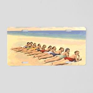 Vintage Bathing Beauty Post Aluminum License Plate