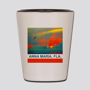 Bright sunset over Anna Maria Island Shot Glass