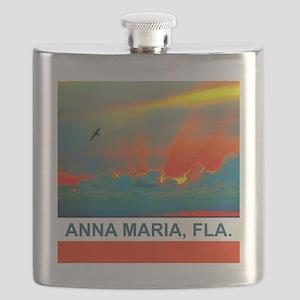 Bright sunset over Anna Maria Island Flask