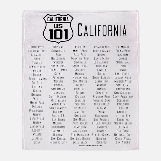 US Route 101 California Cities Throw Blanket