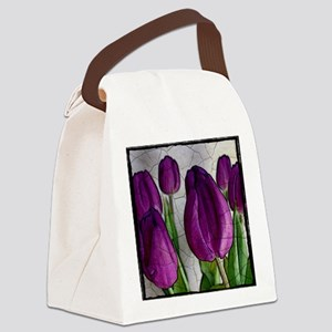 Purple Tulips Canvas Lunch Bag