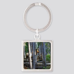 Bull Elk in forest Square Keychain