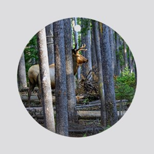 Bull Elk in forest Round Ornament