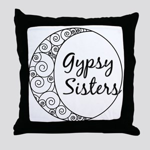 Gypsy Sisters White Logo Throw Pillow
