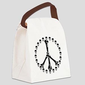 Peace Sign Bones Canvas Lunch Bag