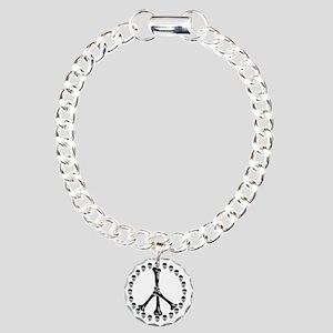 Peace Sign Bones Charm Bracelet, One Charm