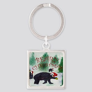 Beary Christmas Square Keychain