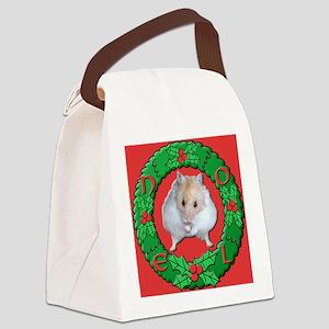 Hamster Noel Wreath Canvas Lunch Bag
