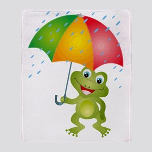 Frog Under Umbrella in the Rain Throw Blanket