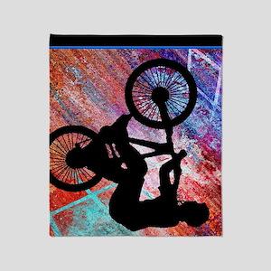 BMX on Rusty Grunge Throw Blanket