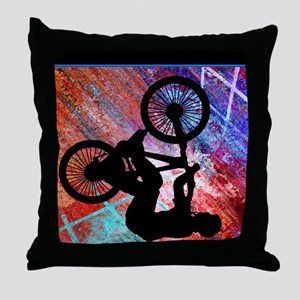 BMX on Rusty Grunge Throw Pillow