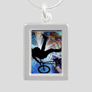 BMX in a Grunge Tunnel Silver Portrait Necklace