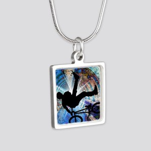 BMX in a Grunge Tunnel Silver Square Necklace