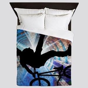 BMX in a Grunge Tunnel Queen Duvet