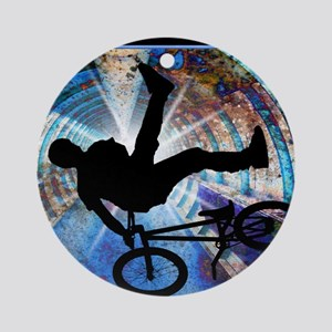 BMX in a Grunge Tunnel Round Ornament