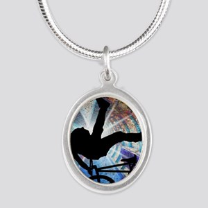 BMX in a Grunge Tunnel Silver Oval Necklace