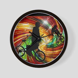 BMXers in Red and Orange Grunge Swirls Wall Clock