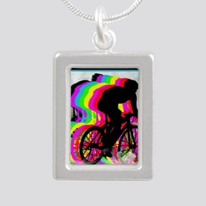 Cyclists Cycling in the  Silver Portrait Necklace