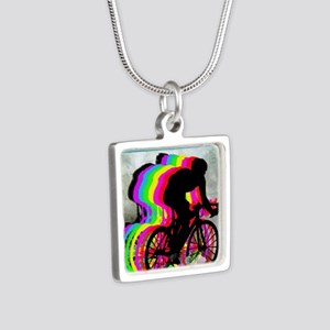 Cyclists Cycling in the Cl Silver Square Necklace
